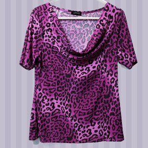 🦋3/$30 Purple Cheetah Print Cowl Neck Top